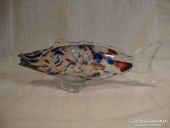 Színes üveg hal szobor