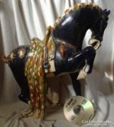 Hatalmas kínai kék ló szobor kerámia terrakotta nyereg főnix