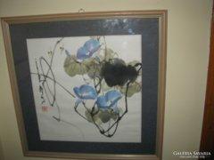 Eredeti kínai festmény – méhecskék hajnalka virággal