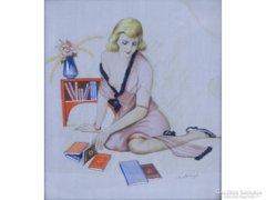 0E703 Subkégel Gyula : Art deco női akt