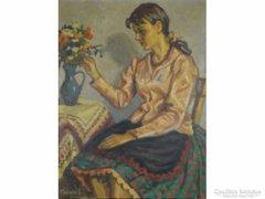 0E331 Felekiné Gáspár Anni : Fiatal lány virággal