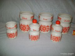 Régi kerámia fűszertartó készlet - 3 + 3 darabos