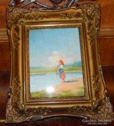 Permutter Imre eredeti olaj  festménye blondel keretben