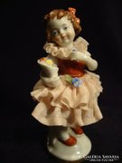 Jelzett anik fodros ruhás kislány porcelán szobor