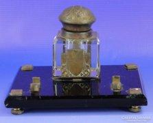 0E154 Antik szecessziós üveg kalamáris