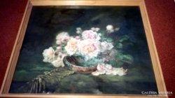 Szép régi festmény szignózott rózs csendélet