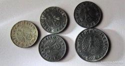 5 darab II. világháborús német birodalmi  pfennig