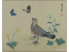 0E688 Régi japán festmény jelzett : Pillangók