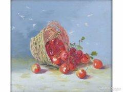 0E797 Régi cseresznyés olaj vászon csendélet