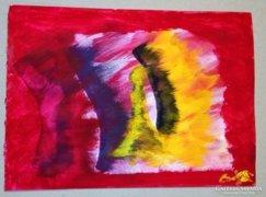 Ellenszélben című akril festmény, akril papírra feste
