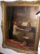 Komáromi-Kacz Endre: Zongorázó Nő c. festménye
