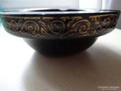 Moser hamutál fekete üvegből arany ornamentikával