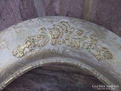 Ovál keret nagyméret 126x69 cm fa arany díszítéssel
