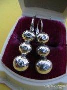 Tripla button ezüst fülbevaló