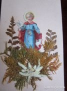 Szecessziós szent kép eredeti havasi gyopárral