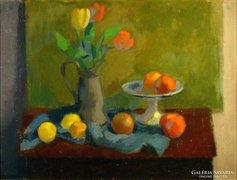 Sikuta Gusztáv : Tulipános asztali csendélet
