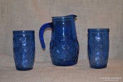 Kék üveg kancsó 2 pohárral  ( DBZ0042 )