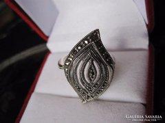 Szecessziós 925 ezüst markazitos, filigrán gyűrű
