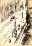 Ámos Imre (1907-1944): Pesti utca 1930 - grafika