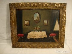 Antik jelzett festmény szobabelső enteriőr