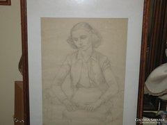 Szabó Vladimir eredeti rajza – Fiatal nő portréja
