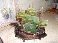 Antik fa vitorlás asztali lámpa eladó!