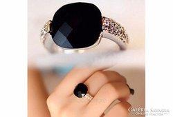 Fekete kristály köves gyűrű 8-as ÚJ!