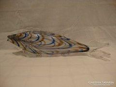Csíkos üveg hal szobor