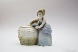 Sitzendorf kosaras kislány kaspó váza viktoriánus hölgy