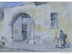 0E651 Jelzett Tabáni utcarészlet akvarell