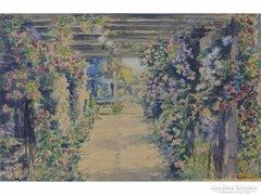 0E658 Régi akvarell lugas virágoskert