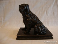 Mozgószájú bronzírozott öntöttvas kutya szobor