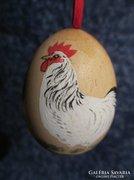 2 db régi kézzel festett tojás, kakas réce húsvéti dekoráció