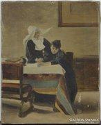 0E956 Antik jelzetlen festmény : Bánat