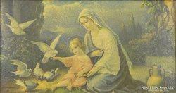 0E940 Régi olajnyomat Mária a kis Jézussal
