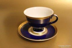 Hollóházi Szász Stúdiós sötétkék kávés csésze + alátét