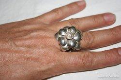 Hatalmas ezüst virág gyűrű