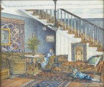 0E993 Antik enteriőr festmény papír akvarell