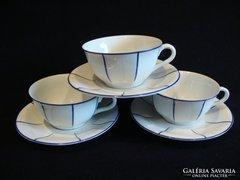 Drasche porcelán kék csíkos csésze és alj