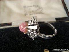 Skandináv állítható ezüst gyűrű rodokrozittal