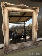 Provence bútor, antikolt fehér nagyméretű Blondel tükör 43.