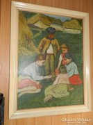 Nagy méretű képcsarnokos olaj / vászon festmény