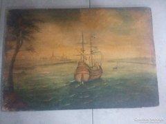 Vitorlás hajó olaj festmény régi
