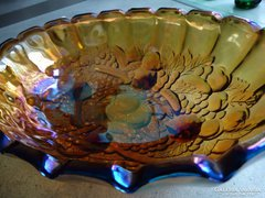 Irizáló, ovális kínáló, asztalközép, antik Fenton tál
