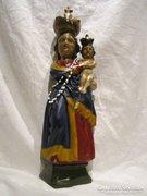 Antik faragott festett fa Mária szobor 48 cm