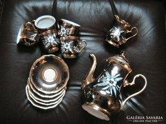Álomszép, aranyozott,ezüstözött vésett kávéskészlet