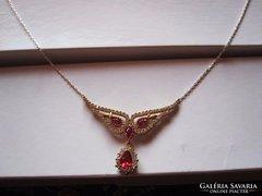 Arany és ezüst rubin nyaklánc, nyakék, collier