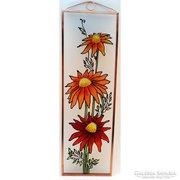 Gerberák - Virágok - Kézzel festett üveg