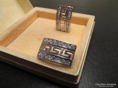 Nagyobb görög mintás ezüst fülbevaló