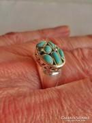 Gyönyörű régi valódi türkizköves ezüstgyűrű